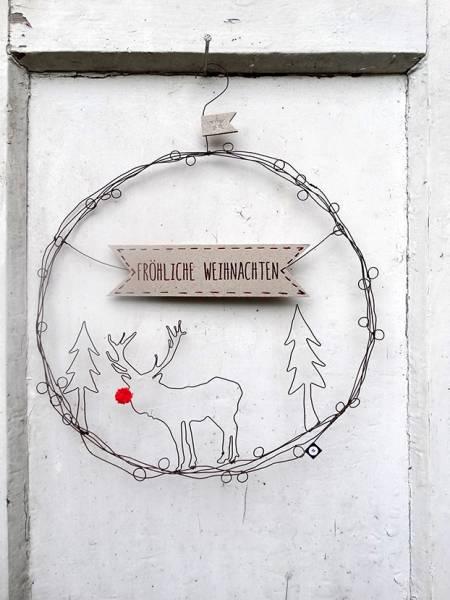 Hirsch Weihnachten Türkranz D 27cm Good Old Friends