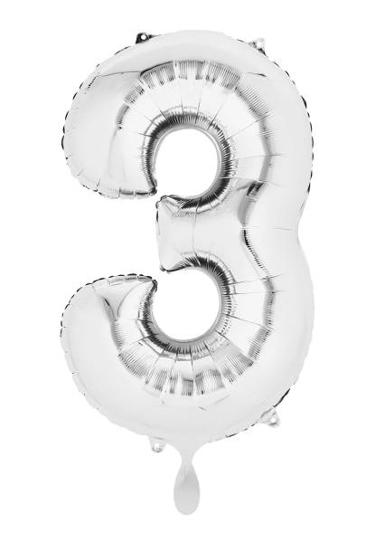 XXL Zahl 3 Silber Folienballon Luftballon