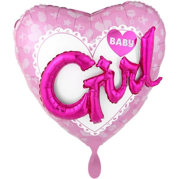 XL Folienballon Baby Girl rosa Herz 3D Effect Geburt