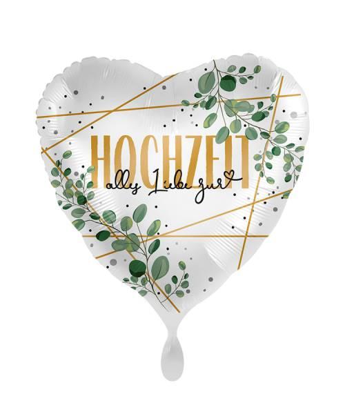 Herz Hochzeit Alles Liebe euch Eukalyptus Folienballon Luftballon