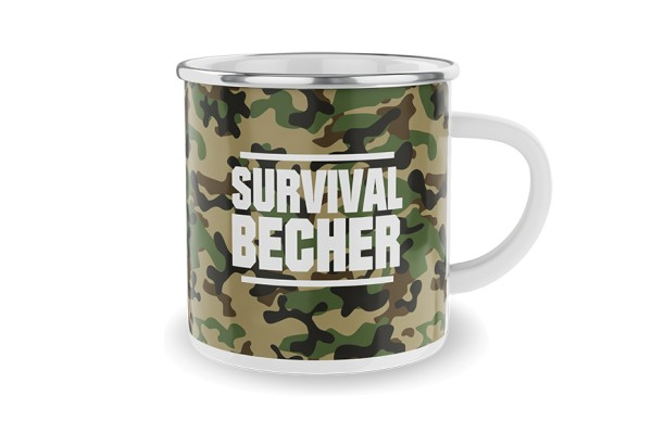 Survival Emaille Metall Becher Tasse LaVida