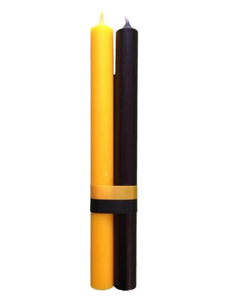 Stabkerzen Set Schwarz & Gelb H24 cm