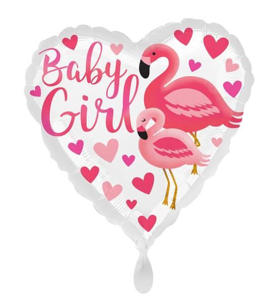 Herz Baby Girl Flamingo Folienballon Luftballon