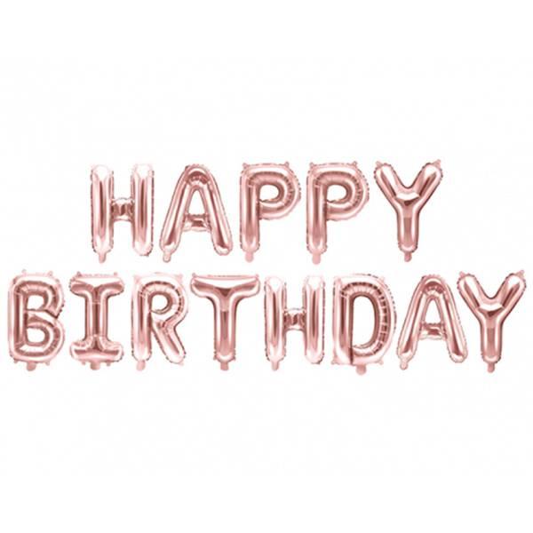 Girlande Happy Birthday Rosegold Buchstaben Luftballon