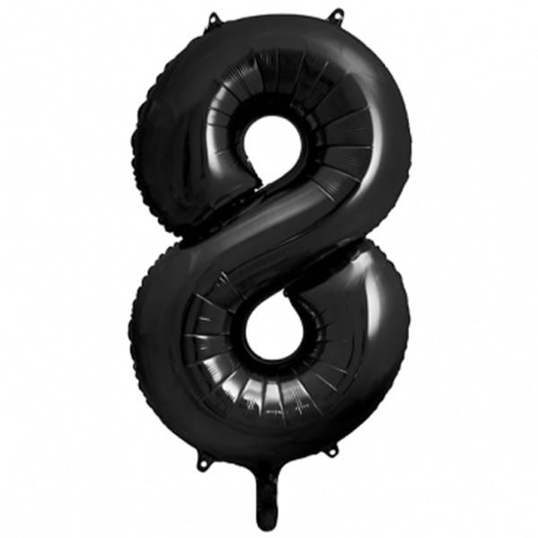XXL Zahl 8 Schwarz Folienballon Luftballon
