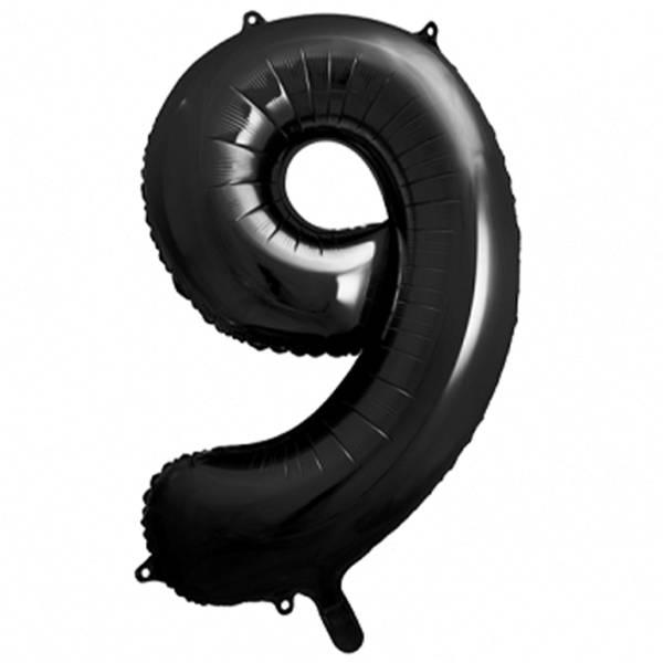 XXL Zahl 9 Schwarz Folienballon Luftballon