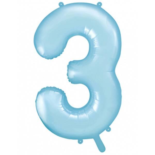 XXL Zahl 3 Himmelblau Folienballon Luftballon