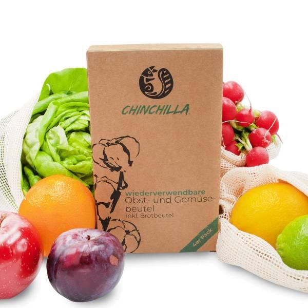 Obst- und Gemüsebeutel inkl. XL Brotbeutel Chinchilla