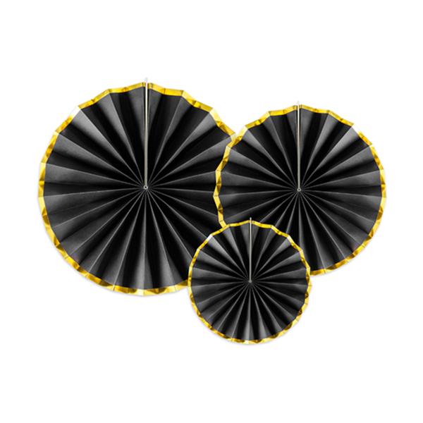 Rosetten Chic schwarz 3er Set Fensterdeko