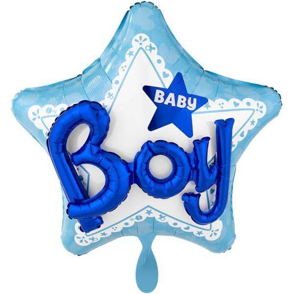 XL Folienballon Baby Boy blau Stern 3D Effect Geburt