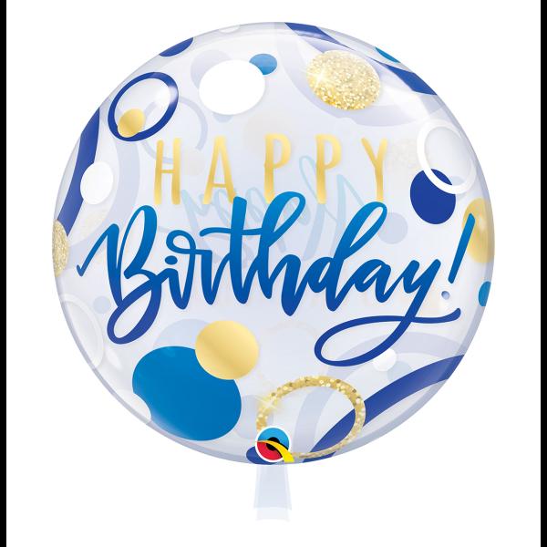 Bubble Ballon HAPPY BIRTHDAY Luftballon blau
