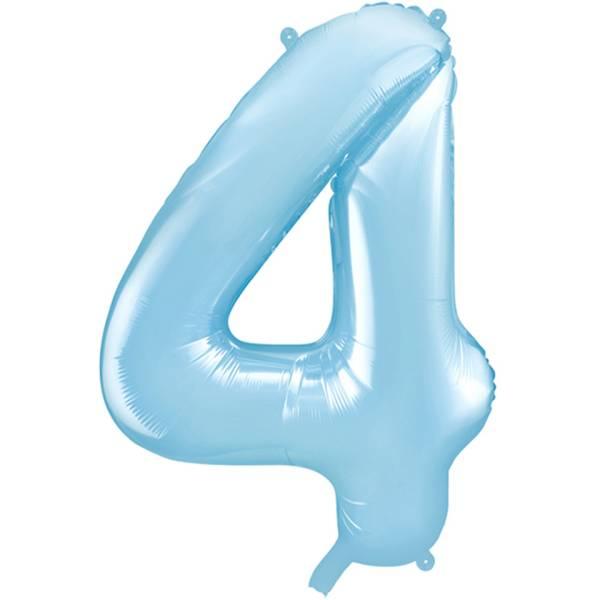 XXL Zahl 4 Himmelblau Folienballon Luftballon