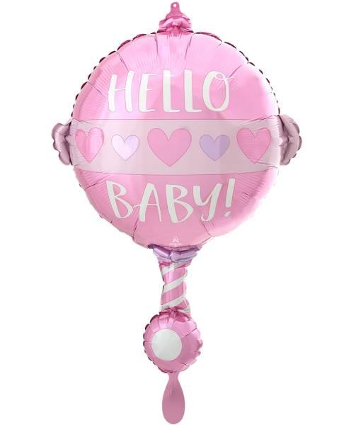 Folienballon Hello Baby Rassel Geburt