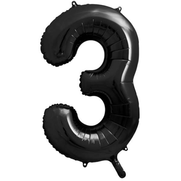 XXL Zahl 3 Schwarz Folienballon Luftballon
