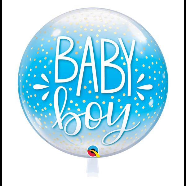Bubble Ballon Baby Boy blau Geburt Luftballon