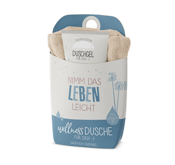 Leben leicht Wellnessdusche Duschgel + Handtuch Naturkosmetik LaVida