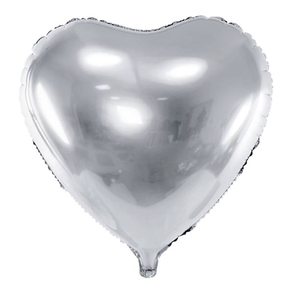 XL Herz silber D61 cm Luftballon