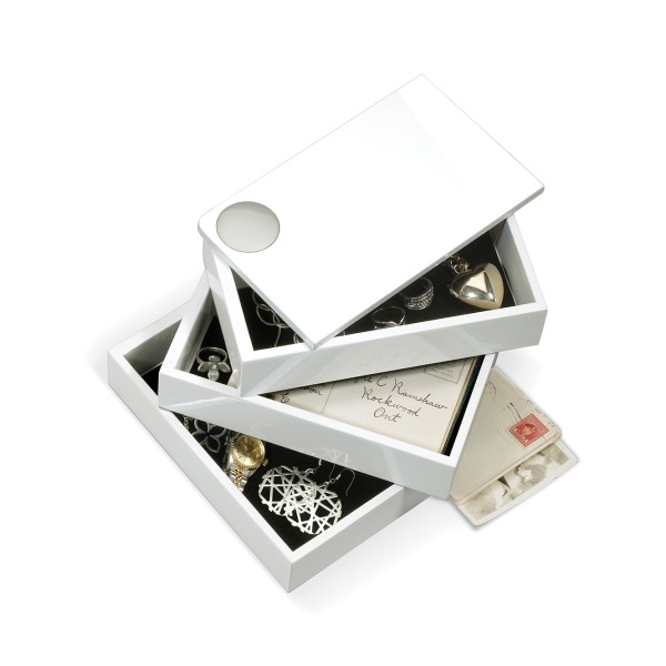 Spindle Schmuckbox 3 Fächer weiß lackiert Umbra