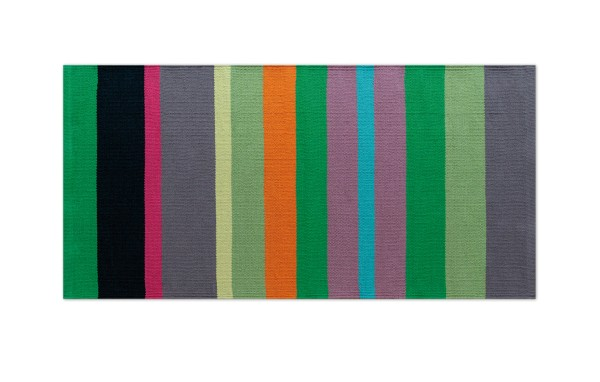 Flickenteppich grün gestreift kurz 140x70 cm REMEMBER