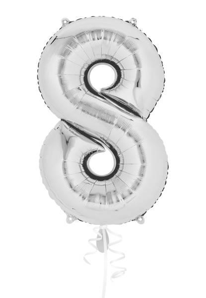 XXL Zahl 8 Silber Folienballon Luftballon