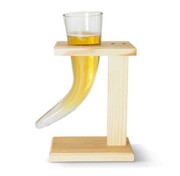 Bierglas Wikinger Horn Glashalter Holz Source