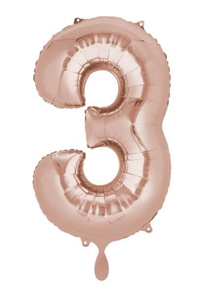 XXL Zahl 3 Rose Gold Folienballon Luftballon