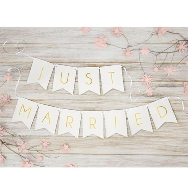Girlande Just Married Hochzeit weiß 1,4m Partydekoration