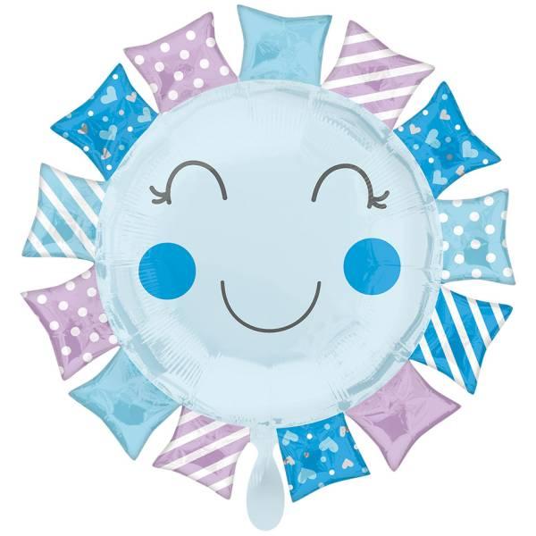 Folienballon Sunshine Boy Sonnen Smiley blau Geburt