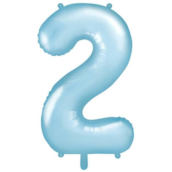 XXL Zahl 2 Himmelblau Folienballon Luftballon