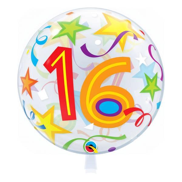 Bubble Ballon Zahl 16 Geburtstag Luftballon