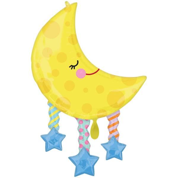 XL Folienballon Mond Sterne Baby D96 cm