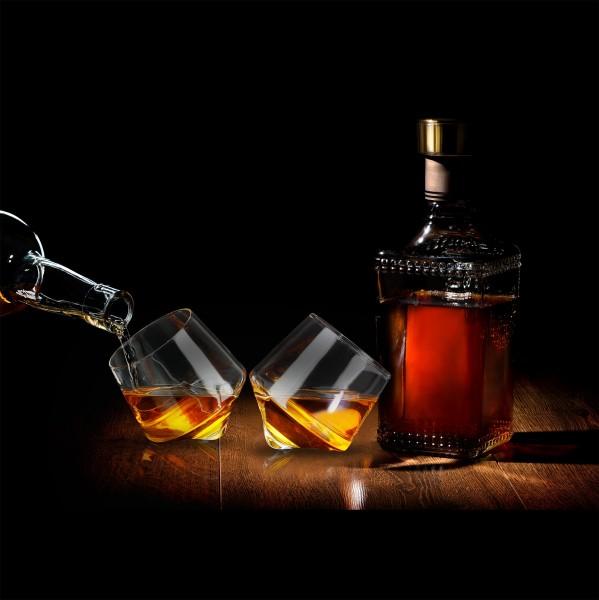 Rolling Whiskey Glas 2 Set rund rollend Geschenk Genießer