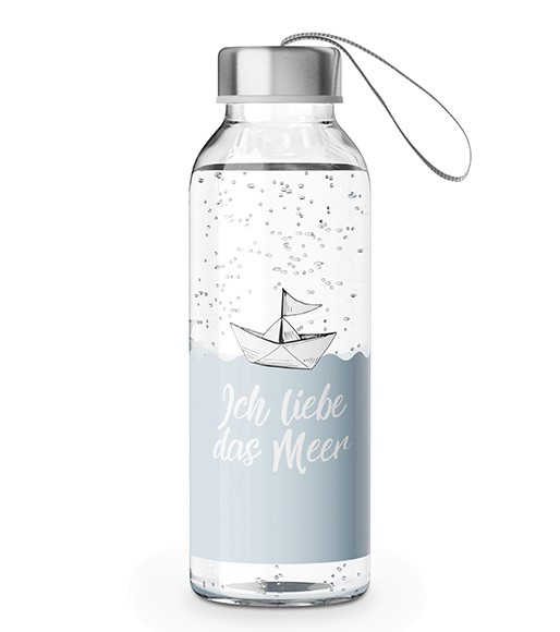 Zeit für Dich Trinkflasche Glas Ich liebe das Meer 0,4l LaVida
