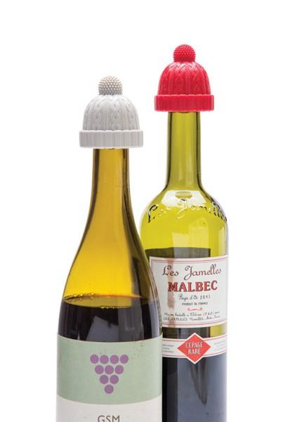 Beanie Weinverschluss Wintermütze 2er Set rot/grau