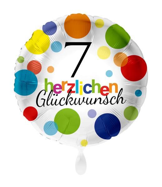 Rund Folienballon Zahl 7 Luftballon