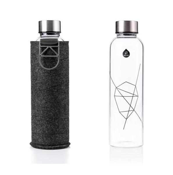 EQUA Design Trinkflasche Mismatch Silver Filzhülle