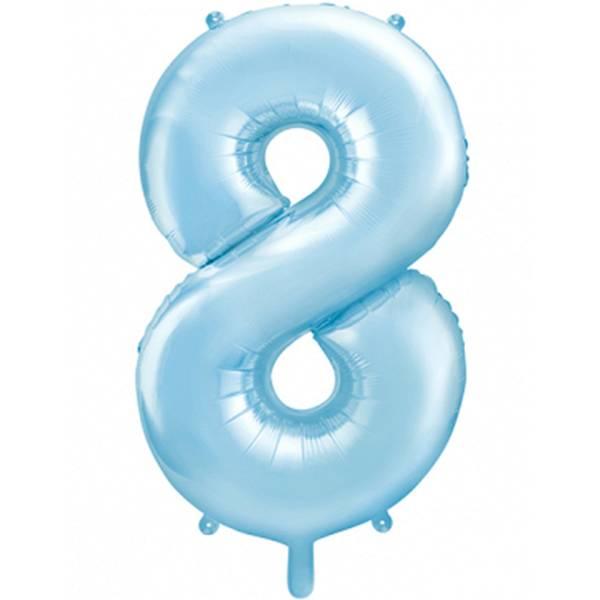 XXL Zahl 8 Himmelblau Folienballon Luftballon