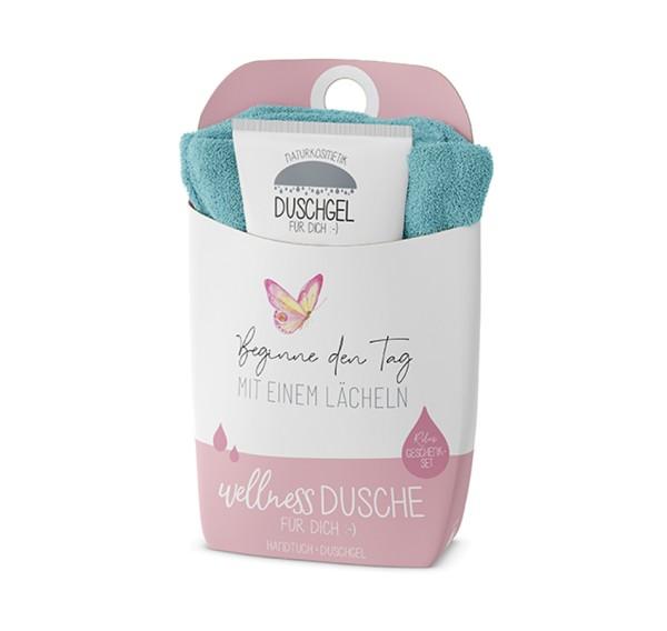 Mit einem Lächeln Wellnessdusche Duschgel + Handtuch Naturkosmetik LaVida