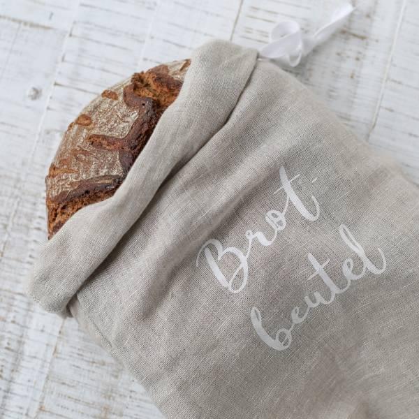 Brotbeutel aus Leinen Eulenschnitt