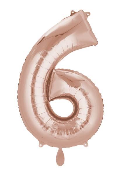XXL Zahl 6 Rose Gold Folienballon Luftballon