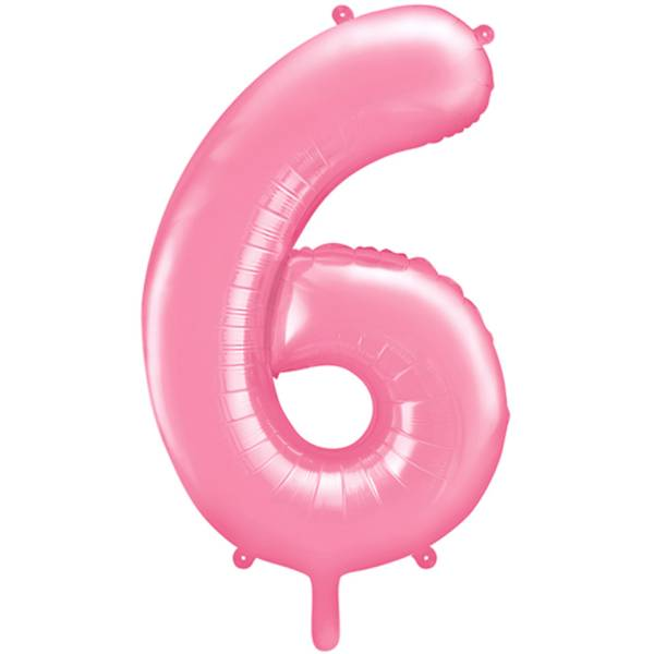 XXL Zahl 6 Pink Folienballon Luftballon