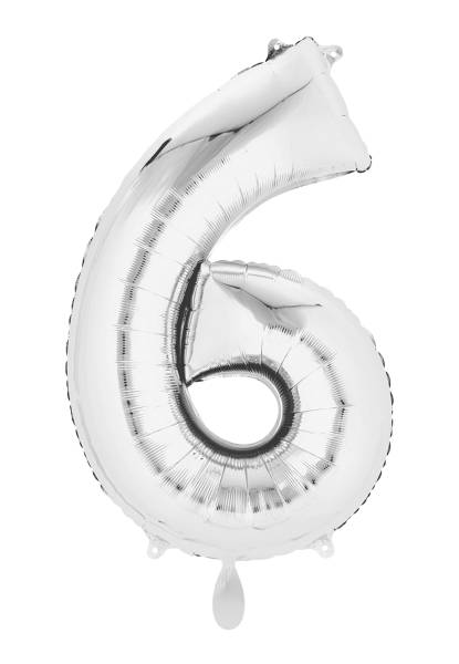 XXL Zahl 6 Silber Folienballon Luftballon