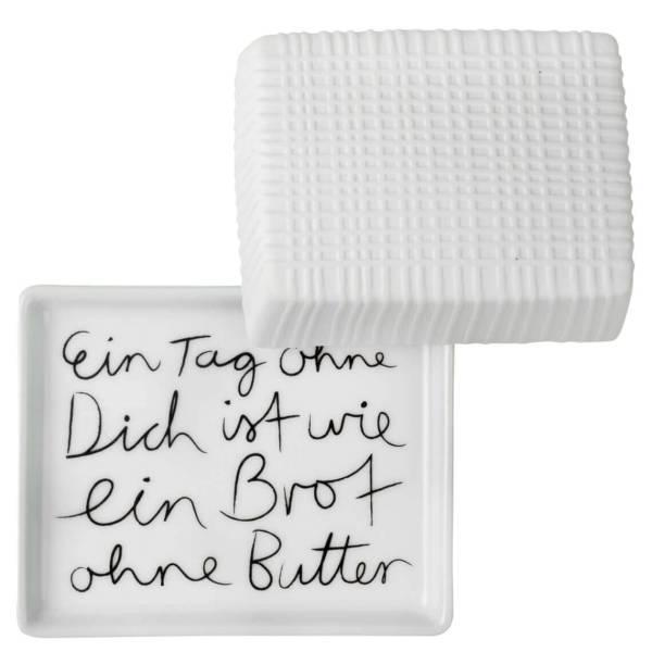 Butterdose EIN TAG kl.125gr Porzellan Räder Design