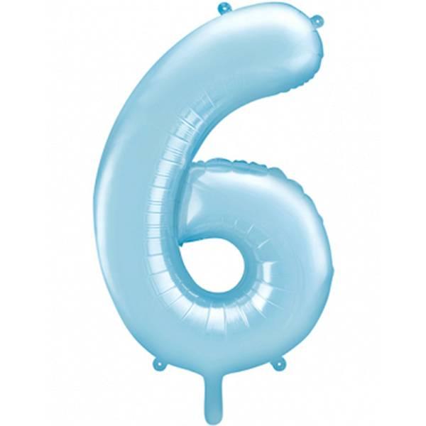 XXL Zahl 6 Himmelblau Folienballon Luftballon