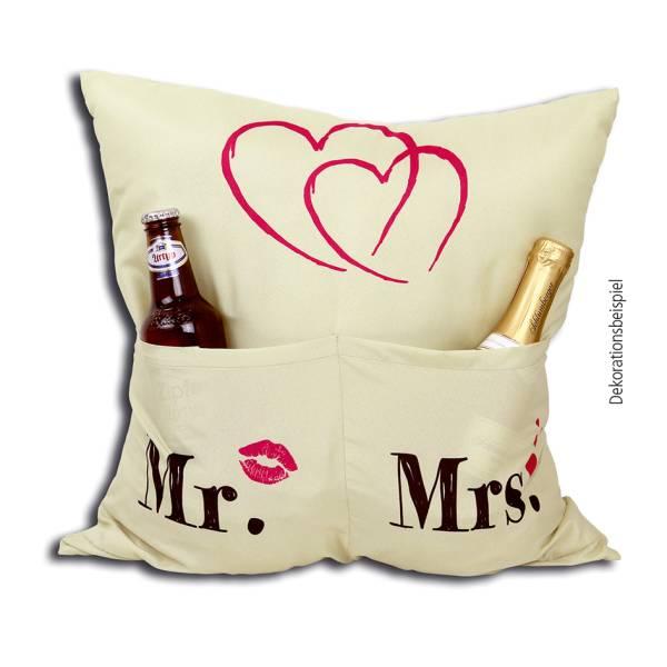 Mrs. Mr. Kissen 43x43 Motiv Geschenk Hochzeit Paar Hergo