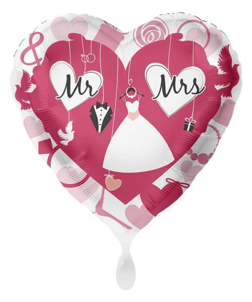 XL Herz Hochzeit Mr & Mrs Folienballon Luftballon