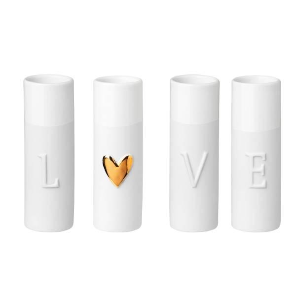 Mini Vasen LOVE 4er Set Räder Design