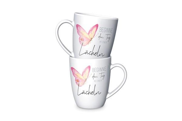 Tasse Mit einem Lächeln Porzellan Becher LaVida