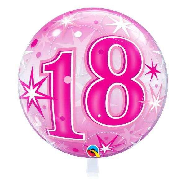 Bubble pink Zahl 18 Geburtstag Luftballon