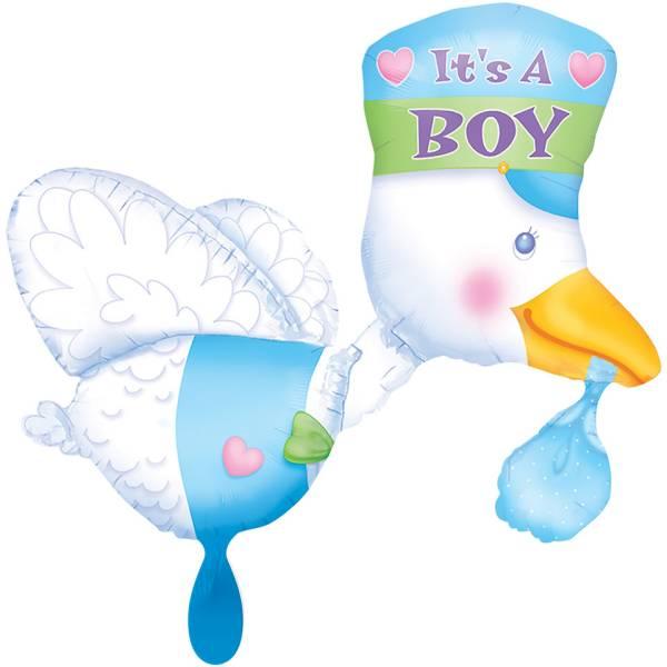 XL Storch It's a Boy Geburt blau Luftballon